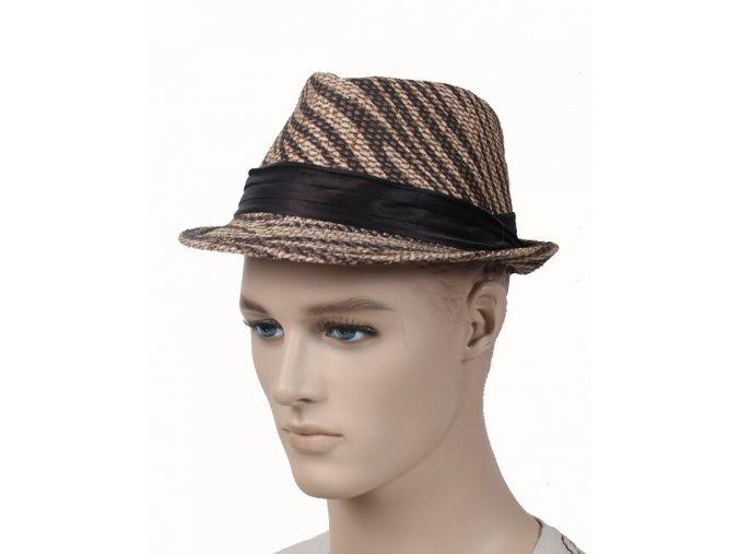 HOW D pánský hnědobéžový slaměný klobouk se stuhou