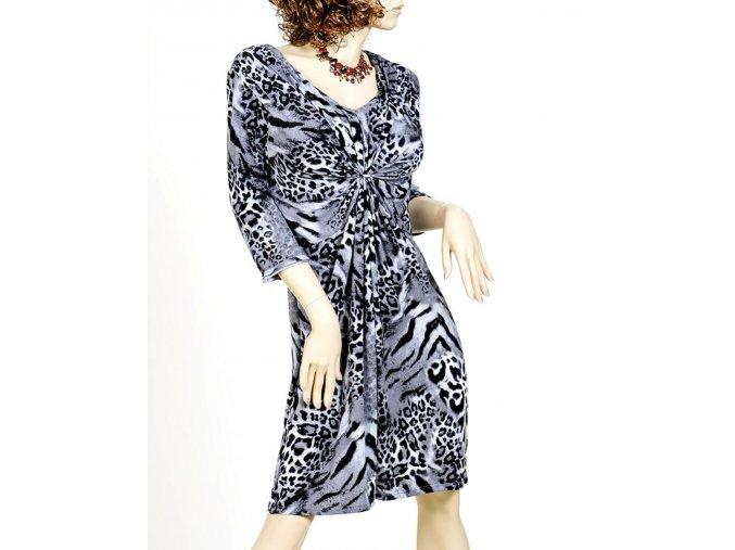 SWEET dámské šaty šedočerné leopardí