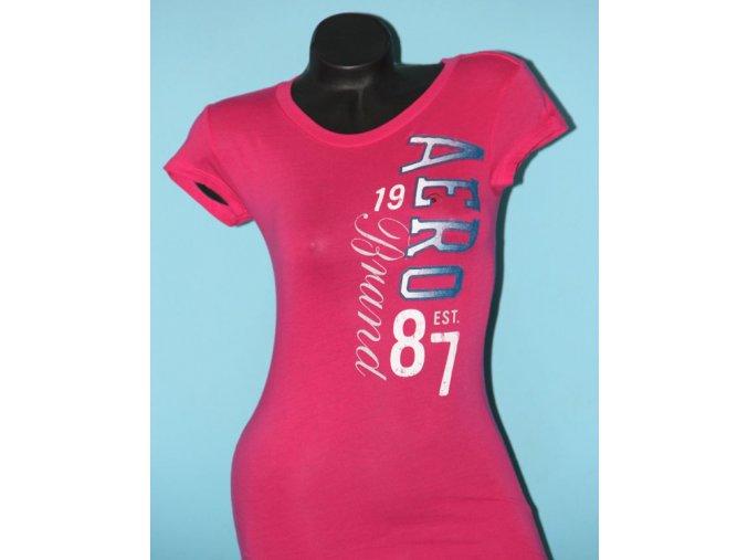 Aéropostale dámské tričko růžové s bílomodrým potiskem
