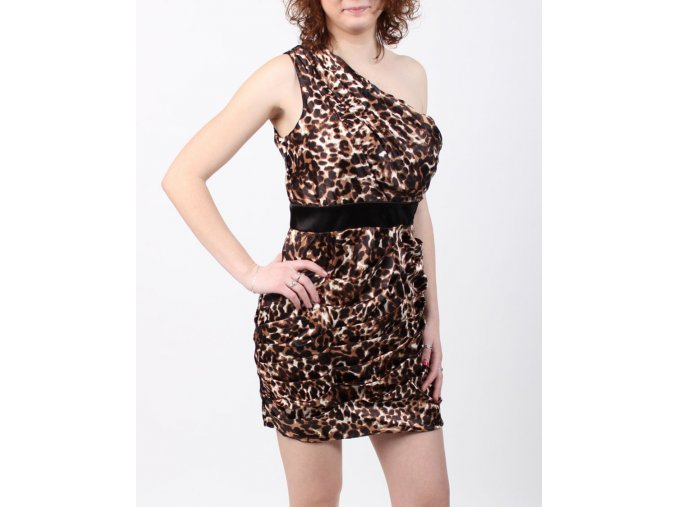 snap dámské šaty společenské leopard
