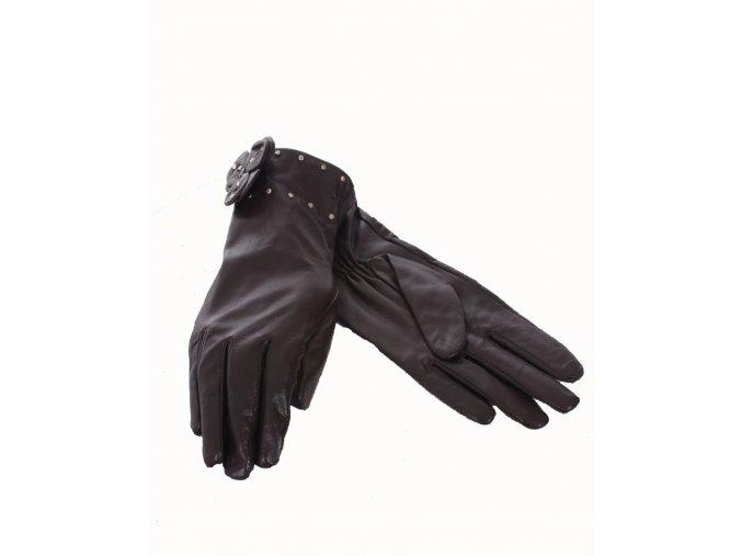 NINE WEST dámské rukavice kožené hnědé