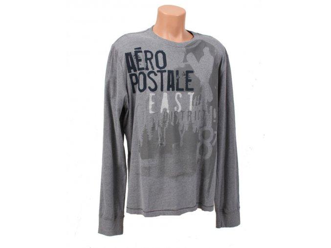 Aéropostale pánské tričko šedé s dlouhým rukávem