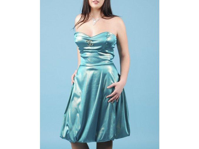 YNES dámské šaty modrozelené lesklé