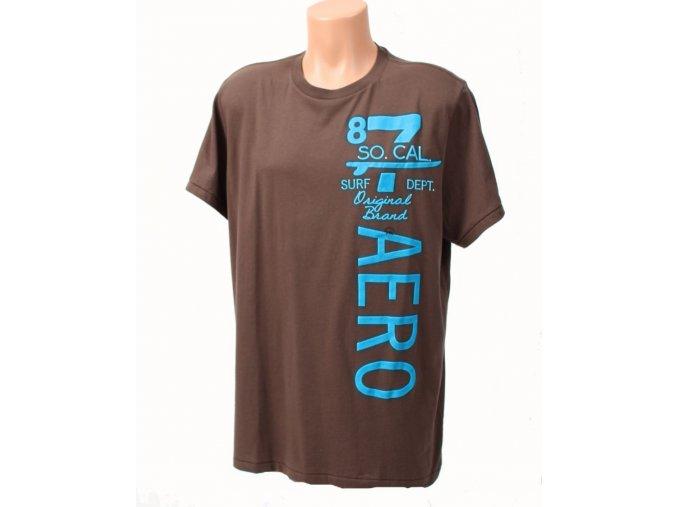 Aéropostale pánské tričko hnědé s modrým nápisem
