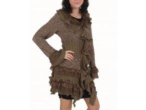 FASHION BLVD dámský svetr s volány hnědý