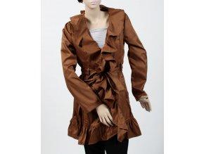 Trendology dámské sako/kabátek hnědé světlé s volány