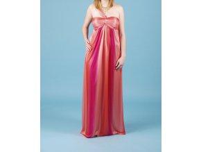 JUMP dámské dlouhé růžovooranžové plesové šaty
