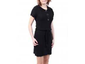 GRIFFLIN Paris dámské šaty pletené černé s kapucí a knoflíky