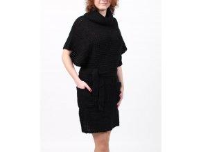 GRIFFLIN Paris dámské šaty pletené černé s rolákem