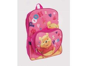DISNEY dětský batoh růžový s medvídkem PÚ a odepínací kapsičkou