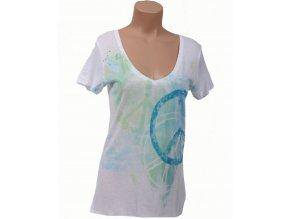 Aéropostale dámské tričko bílé s modrozeleným potiskem a znakem Hippies