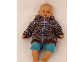 FADED GLORY dětská bunda hnědá s modrým se vzorem