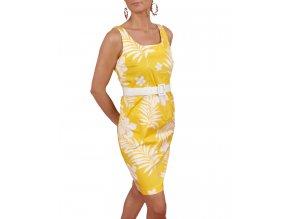 Studio AA dámské šaty žluté s bílým vzorem