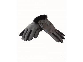 FAUX FUR TRIM dámské rukavice šedé