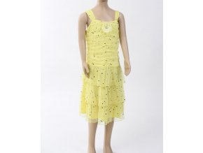 Amy*s closet dětské/dívčí šaty žluté se stříbrnými flitry