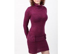 derek heart dámské pletené šaty fialové