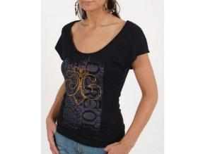 DERÉON dámské tričko černé na zádech s třásněmi