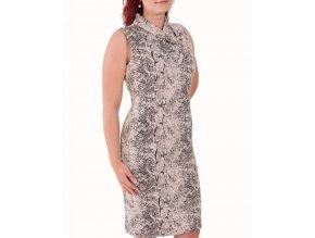 CALVIN KLEIN dámské šaty smetanové s černým potiskem
