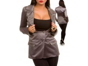 TCEC dámské sako šedé lesklé