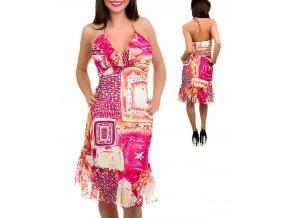 P. O. P. dámské šaty se vzorem v odstínech růžové