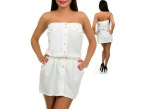TROPICAL WEAR dámské šaty bílé lněné