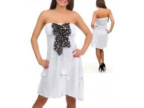 RUNES dámské letní šaty bílé s mašlí