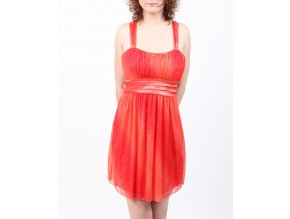 glam hearts dámské šaty společenské oranžové se třpytkami