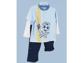 Faded GLORY dětská souprava modrá - tričko s dlouhým rukávem a kalhoty na gumu