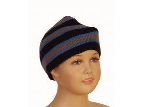 FADED GLORY dětská čepice modrá s šedými proužky
