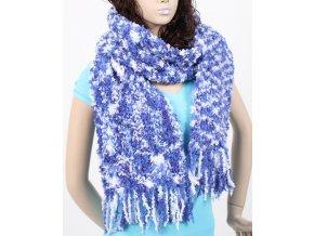 GLORY dámská šála pletená bílomodrá - ruční výroba