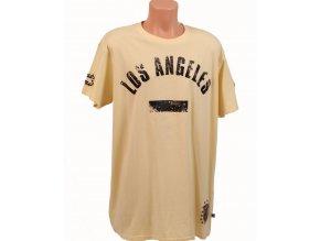 ANTIK DENIM pánské tričko světle žluté - LOS ANGELES