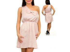 KLD SIGNATURE dámské šaty růžové s mašlí