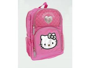 HELLO KITTY dětský/dívčí batoh růžový s kočičkou a stříbrným srdíčkem