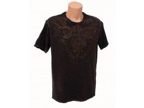 DKNY pánské tričko hnědé batikované s tribal vzorem