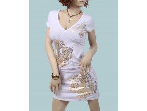 DERÉON dámské letní šaty bílé - zlatý vzor