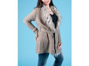 DEBUT dámský světle hnědý pletený svetr