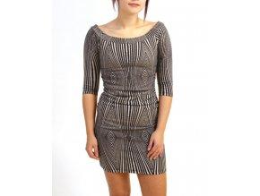 MY BELOVED dámské šaty teplé černobílé se vzorem