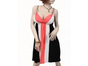 PINK ROSE dámské šaty černé letní s barevnými pruhy
