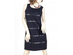 SPENSE dámské šaty černé zdobené koženkou