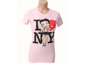 I LOVE NY dámské tričko růžové s Betty Boop