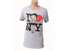 I LOVE NY dámské tričko šedé s Betty Boop