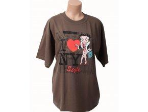 I LOVE NY dámské tričko khaki s Betty Boop