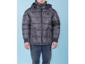 PHAT FARM pánská zimní nepromokavá bunda lesklá ocelově modrá