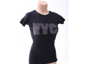 Rafia dámské černé tričko se stříbrnými kamínky NYC