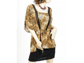 J&D Fashion dámská halenka světle hnědá tygrovaná