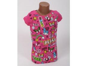 KOHL'S dětské/dívčí tričko růžové s veselými obrázky a nápisy