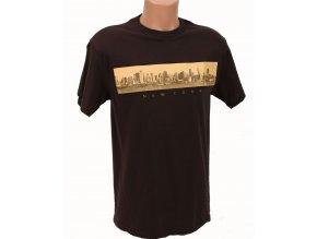 DELTA APPAREL pánské tričko hnědé s NY