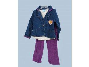 DISNEY dětská souprava 3 díly: fialové kalhoty, smetanové tričko, džínový kabátek