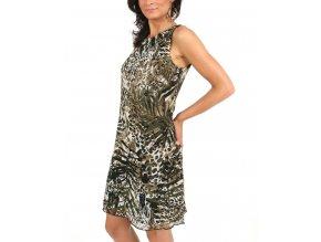 Studio AA dámské šaty olivové leopardí