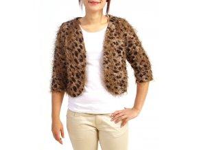 MOON COLLECTION dámský svetřík leopardí hnědý
